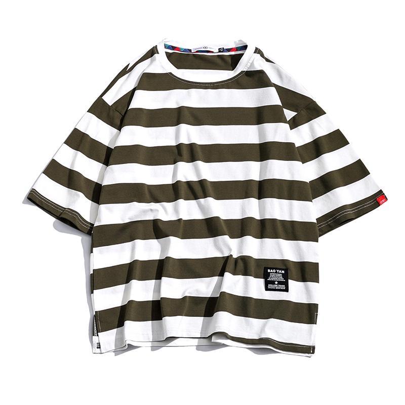 Rayas de algodón de la camiseta camiseta para hombre tee verano japonés camisetas casuales de la aptitud de Calle Tees de gran tamaño hopds02 cadera