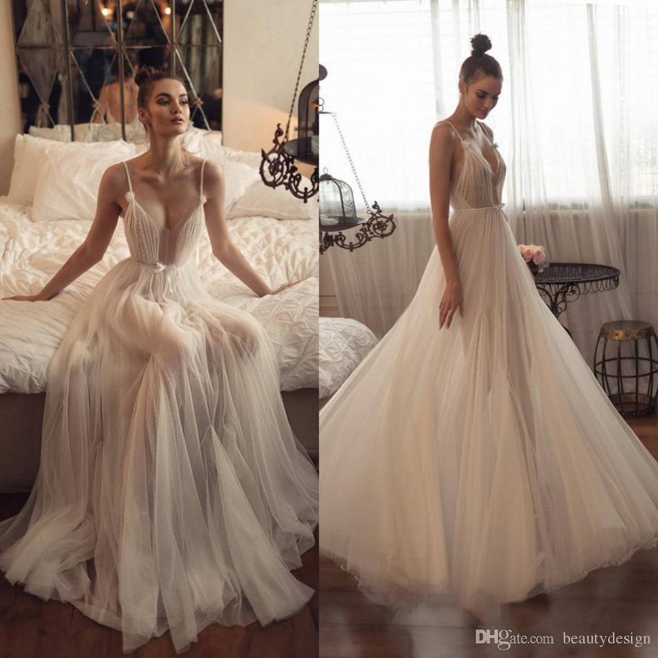Matan Shaked Beach Wedding Dresses 2019 Simple Design Spaghetti Straps Sexy Bridal Gowns Backless Wedding Dress vestido de novia