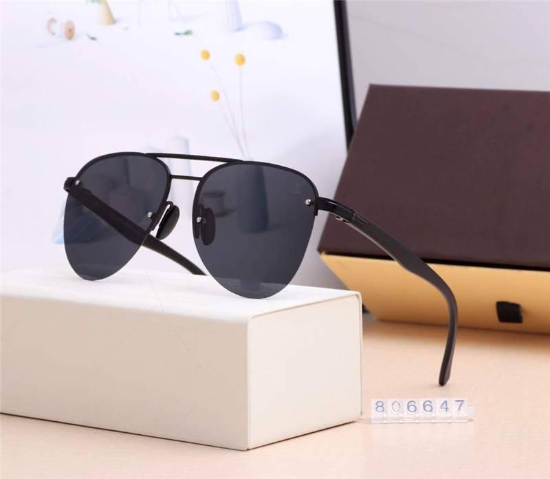NEW أزياء الصيف النظارات الشمسية العلامة التجارية النظارات الشمسية رجل إمرأة شاطئ حملق نظارات UV400 806647 خمسة ألوان جودة عالية مع صندوق