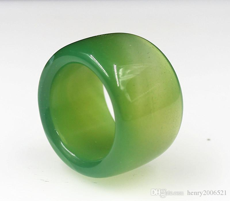 beauty vogue green jade agate jadeite grade thumb ring 10-11 #