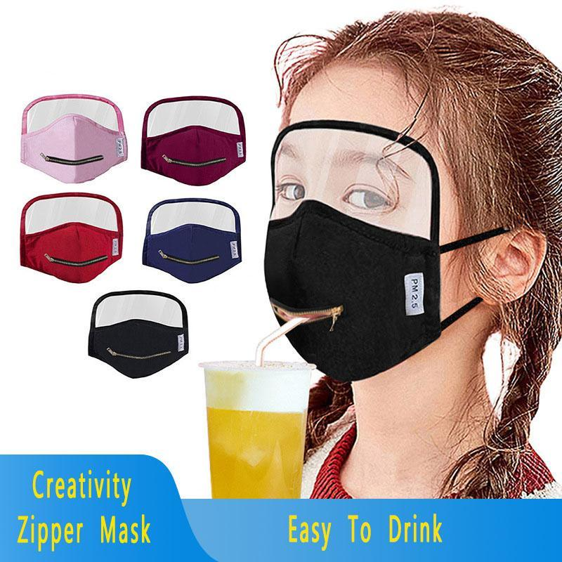 New Creativity Zipper Kids Face Masks Eyes Shield Mask Integrated Cotton Zipper Mask Dustproof Breathable Mouth Cover FY9172