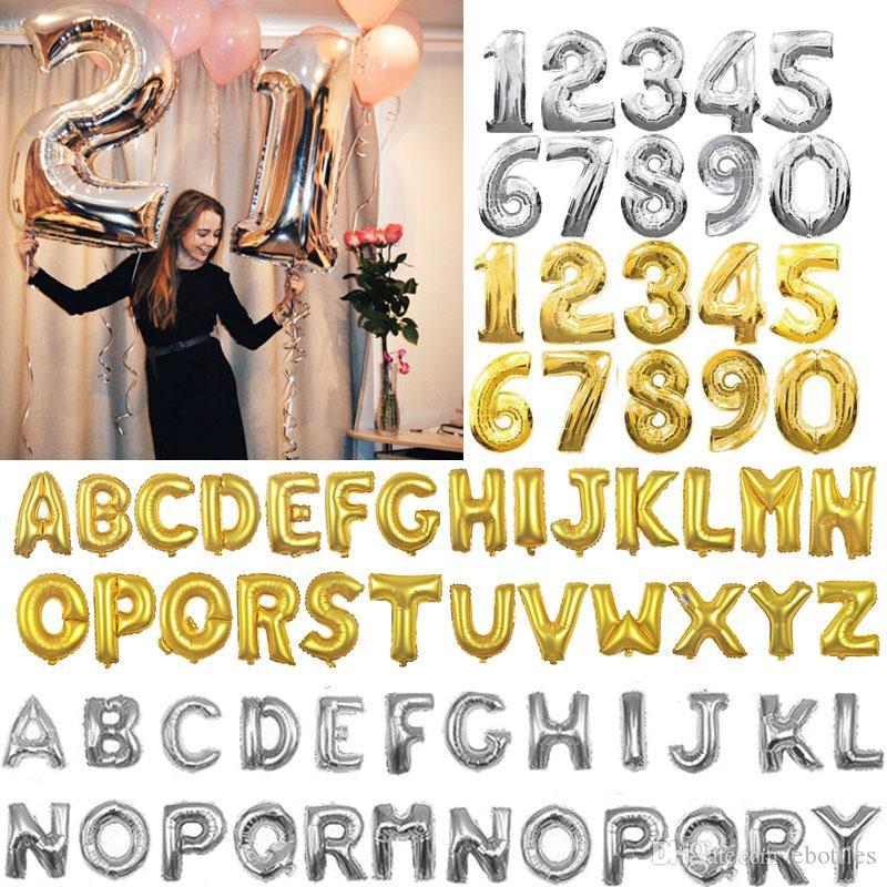 Feuille De Ballon En Aluminium 16 Pouces Or Argent Alphabet Nombre 26 Lettres 0-9 chiffres Ballon De Mariage De Noël Fête D'anniversaire