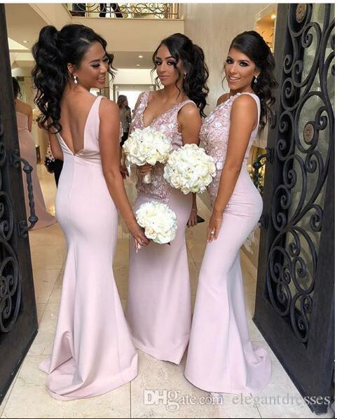 2020 Sexy Backless Lace Appliques Slim Mermaid Bridesmaids Dresses 3D Flowers Adorned Honor Of Maid Sleeveless Robe De Bridesmaid Prom Dress