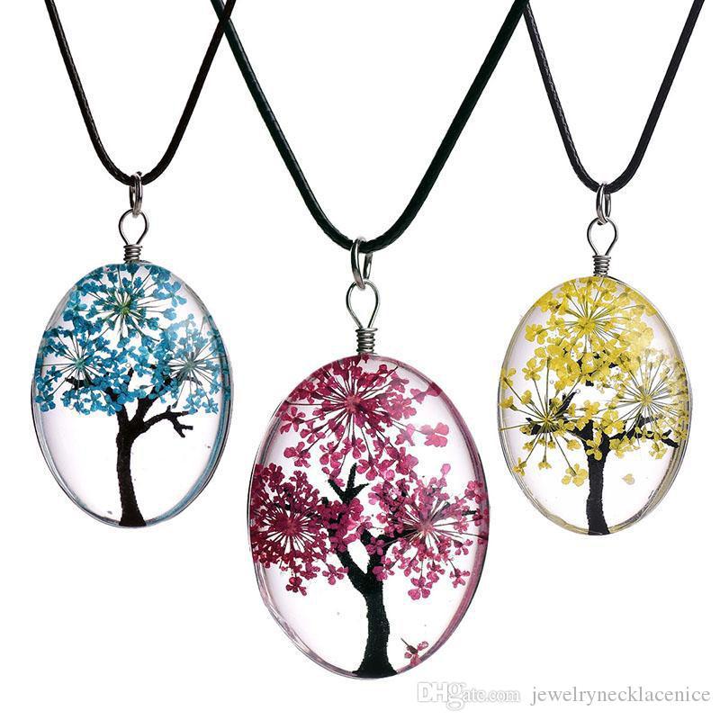 New Tree Oval de vidro da vida colares para as mulheres Flores secas espécime cadeia pingente de couro moda jóias presente