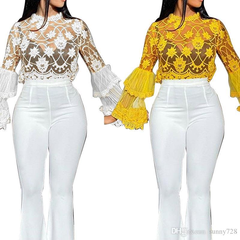 패션 레이스 자수 여성의 셔츠 푹신한 긴 소매 O 목조를 통해 메시 짧은 블라우스 파티 Clubwear T2020 년 봄 여름