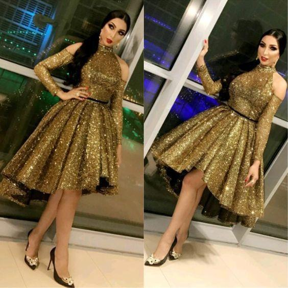 Sparkling Sequins High Low A Line Short Prom Dresses High Collar Sexy New Style Long Sleeves Cocktail Party Evening Gowns Special Occasion