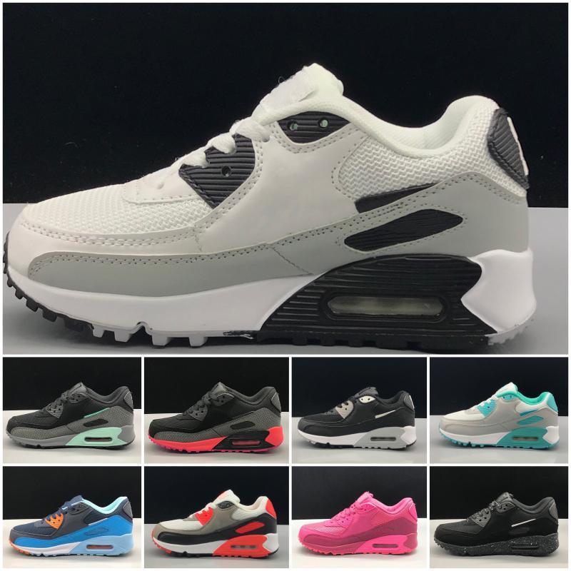 Nike air max 90 2020 Scarpe Primavera Autunno Bambini rosa rosso nero comodo respirabile bambini delle scarpe da tennis delle ragazze dei ragazzi del bambino Pattini di  22-35