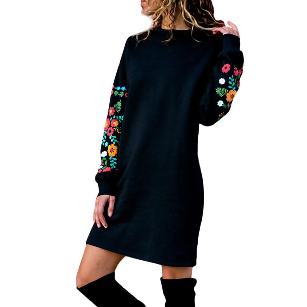sudaderas camisetas de las mujeres de las mujeres del suéter de invierno de las mujeres ocasional otoño de manga larga floral vestido bordado con capucha