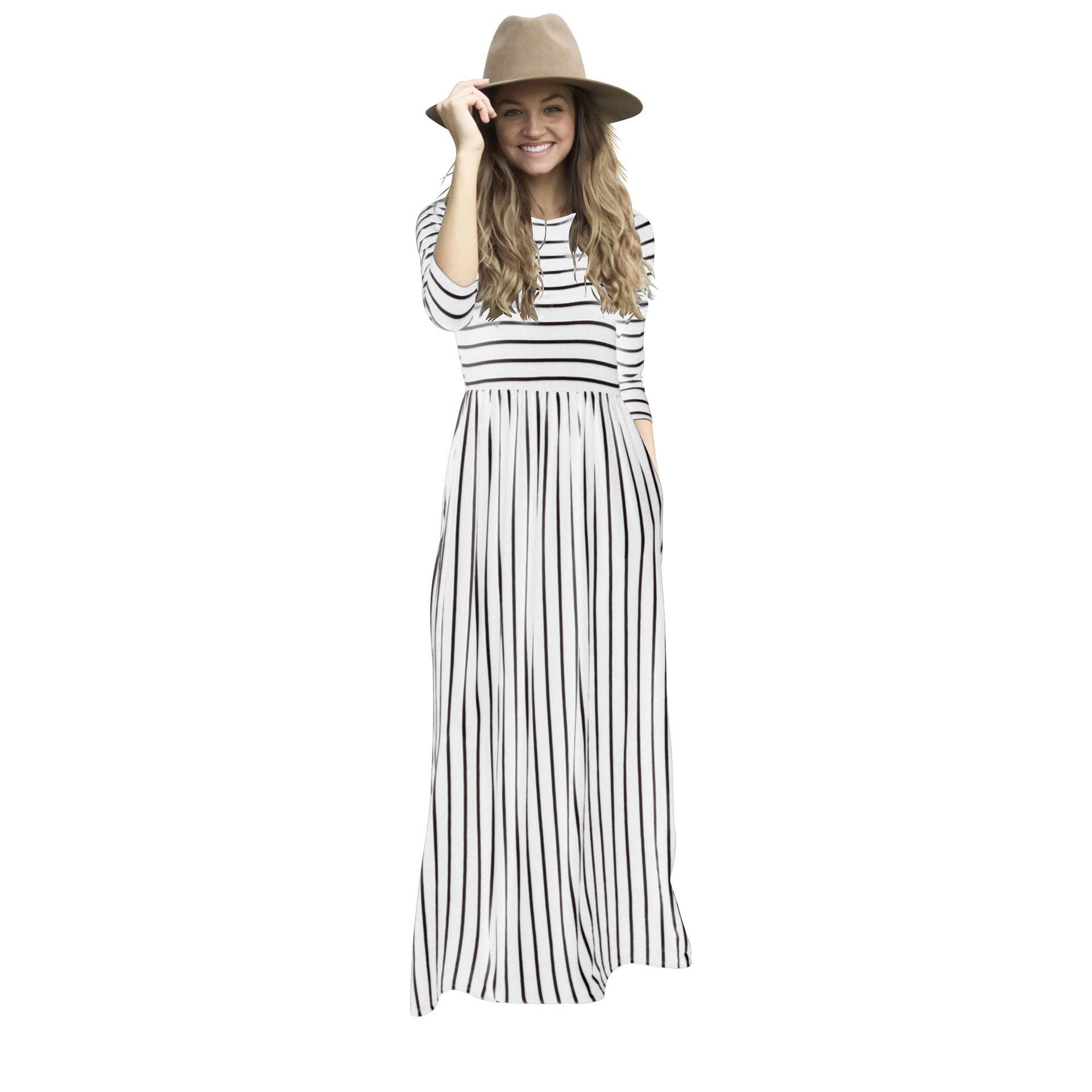 Grande taille vintage blanc bleu noir rouge étage longueur manches longues maxi imprimé floral robes rayées élégante tunique vêtements pour femmes