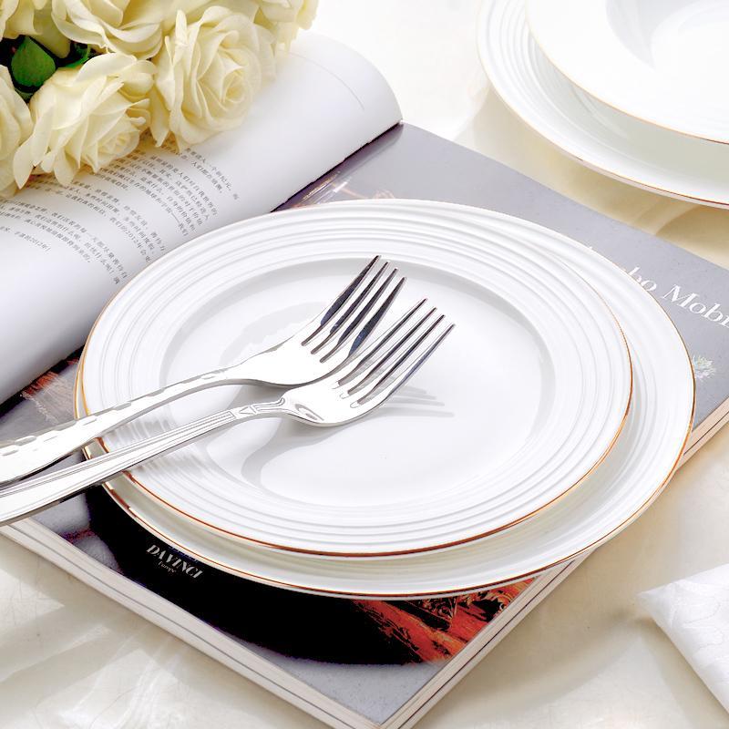 Beyaz Seramik Tabak 8inch 9inch 11inch Steak Plate Tatlı Yemekler altın süs yemekler tabak tatlı Kemik çin düz derin