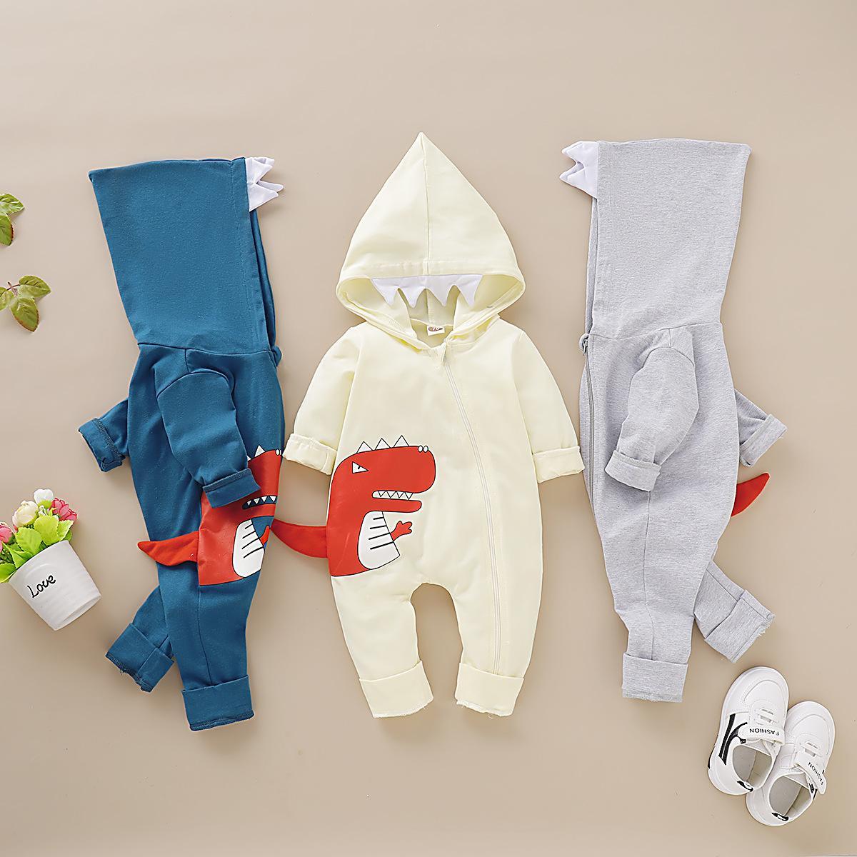 Nowborn Baby Cartoon Dinosaur Sleepsuits Babygrows Long Sleeve Hooded Romper