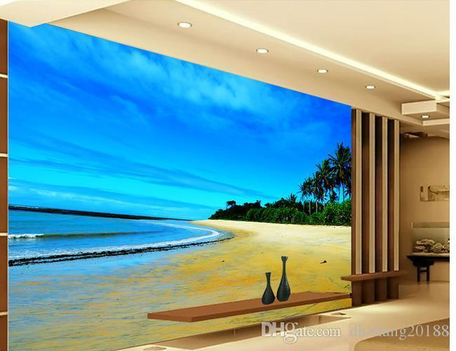 Praia à beira-mar paisagem fundo 3d parede mural 3d papel de parede 3d papéis de parede para o pano de fundo tv