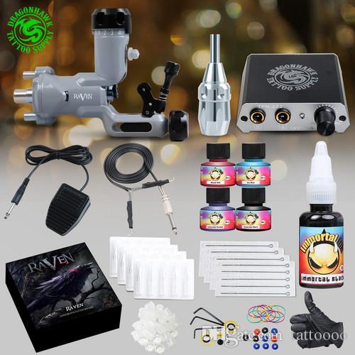 Top Tattoo Kit Raven Rotary Gun Gun Gun Mini Power Supply Aghi Monouso Suggerimenti Grip Immortal Inchiostri D3051