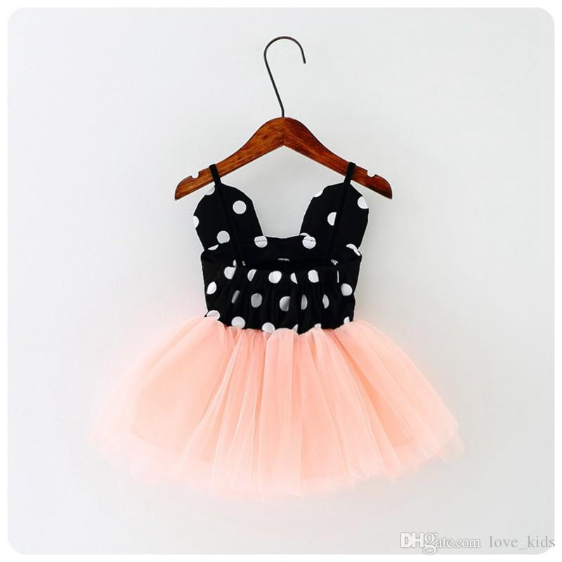 Girls Dress Dot Red black Dresses Mesh Lace Skirts Baby Party Skirt Tutu Dress Little Girls