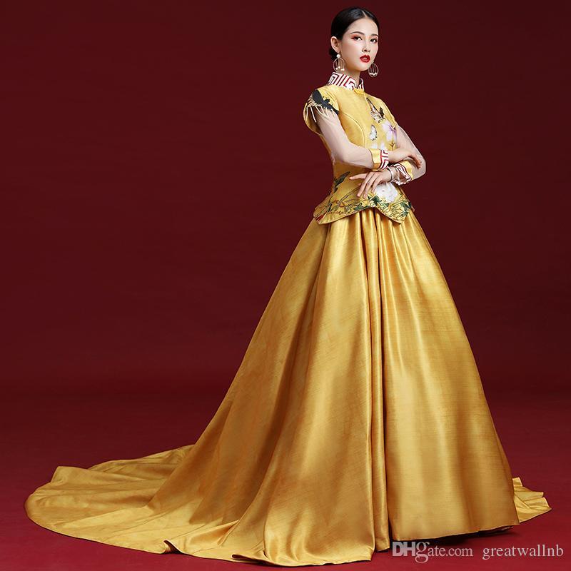 Goldener langarm Stehkragen Luxus mittelalterliches Kleid Ballkleid Siss Princess Kleid Königin Cosplay viktorianische Belle Ball
