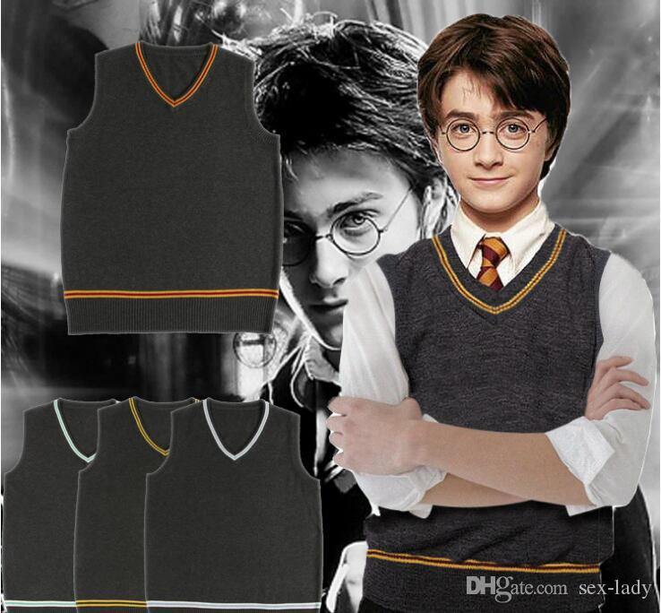Harry Potter Sweater Costume Gryffindor Slytherin Ravenclaw Hufflepuff V-Neck Sweater Tie Waistcoat Hat Cosplay Costumes 4 colors