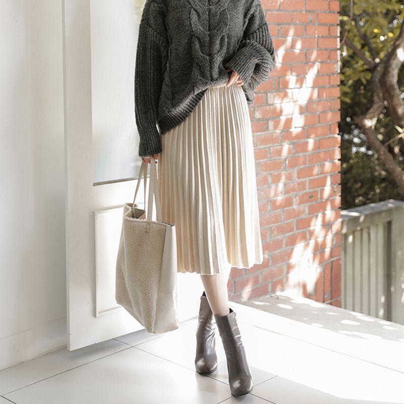 TIGENA Elegant Midi Pleated Knitted Skirt Women 2020 Autumn Winter Korean Knee Length a line High Waist Skirt Female Ladies CX200701