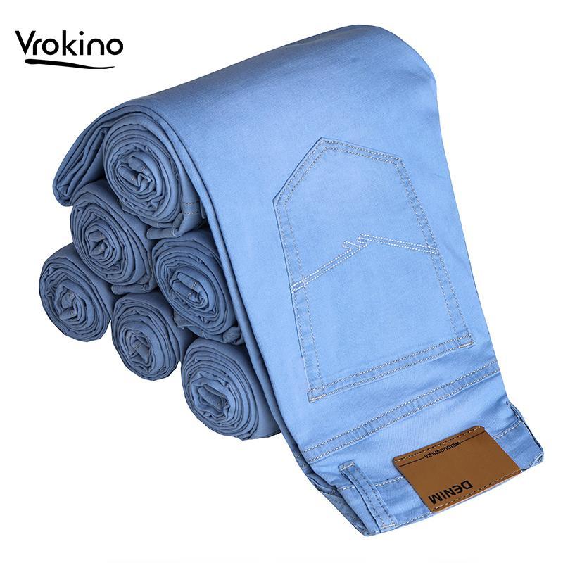 VROKINO Light Blue Jeans dos homens 2019 Nova Listagem de Negócios Casuais cor Sólida dos homens Estiramento Magro Jeans Roupas de marca 36 38 40