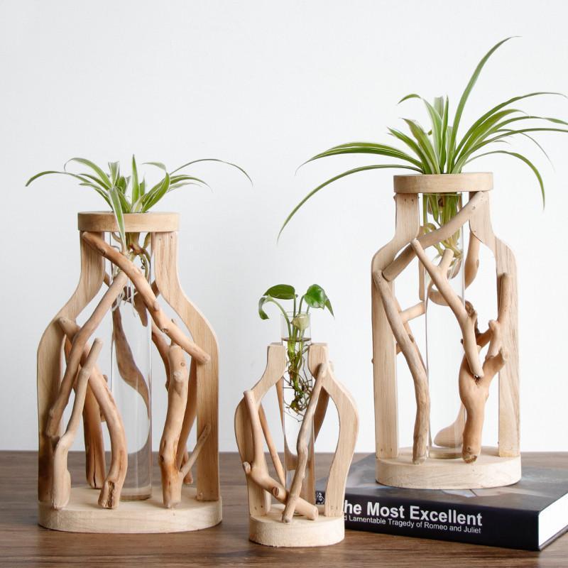 Trabajo hecho a mano puro del florero de madera decorados de madera sólida Tiesto para Creative Glass Container floral hidropónico Inicio decorativo florero
