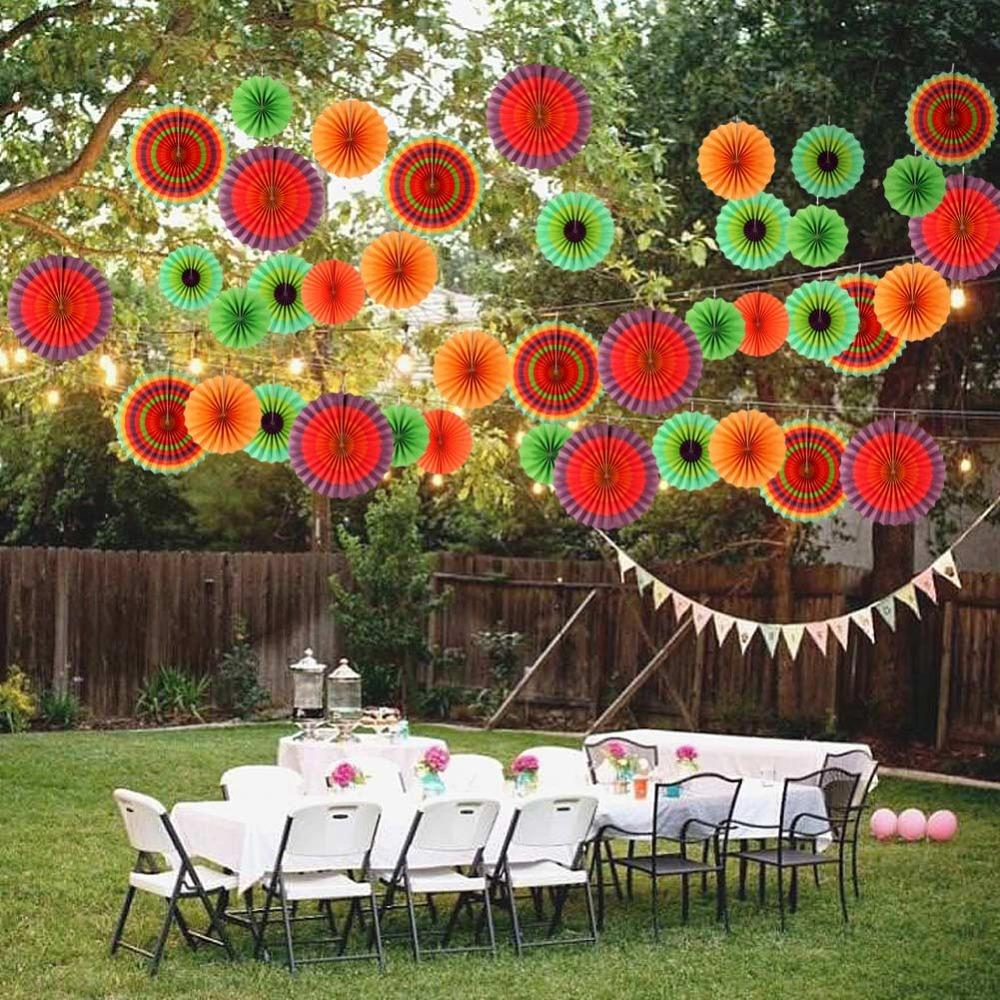 Ourwarm Colored Paper Fans Mexican Party Decorations Hanging Paper Flowers Fiesta Party Backdrop Birthday Party New Year Birthday Party Goodies