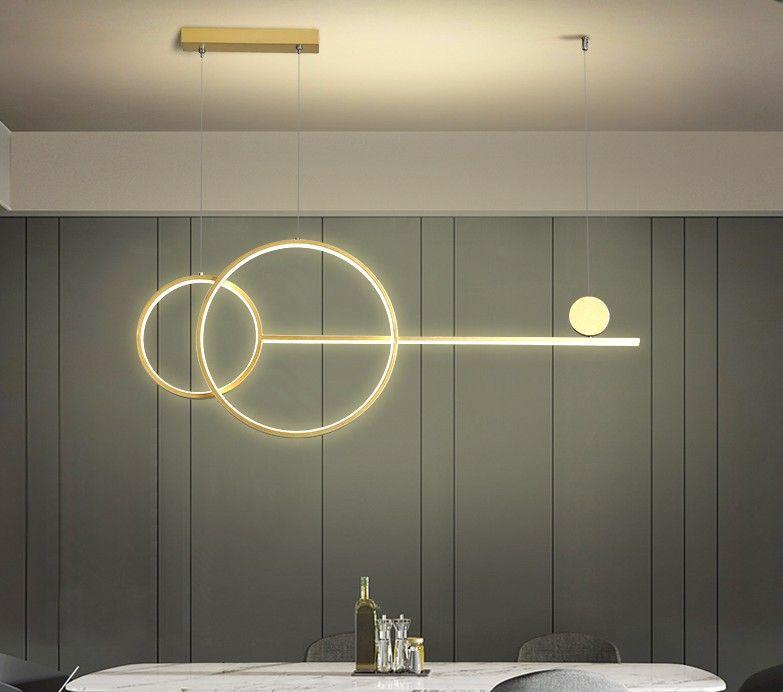 LED moderno semplice lampada Chandelier Ristorante Bar Nero Oro Bianco a lungo pendente sala da pranzo Caffetteria rotondi Anelli a sospensione a luce LLFA