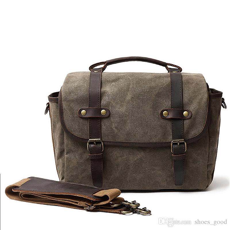 2019 Latest Vintage Camera Storage Bag Laptop Bags Men Briefcase Attache Case Cross Body Shoulder Bags made of Real Genuine Leather and Ca
