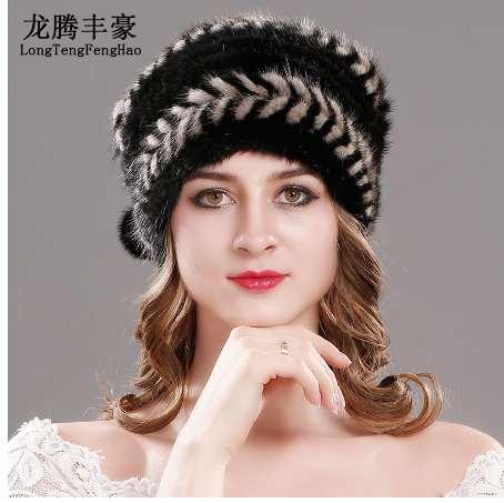 купить оптом вязаные шапки из норки с меховой шапкой женские зимние