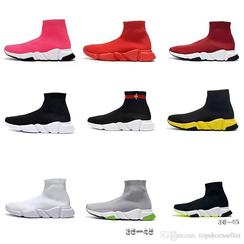 New Arrivlas Designers Runners Casual Sneakers Desporto Moda luxurys para as Mulheres Homens Speed Trainer off Black White Red Sock Sapatos