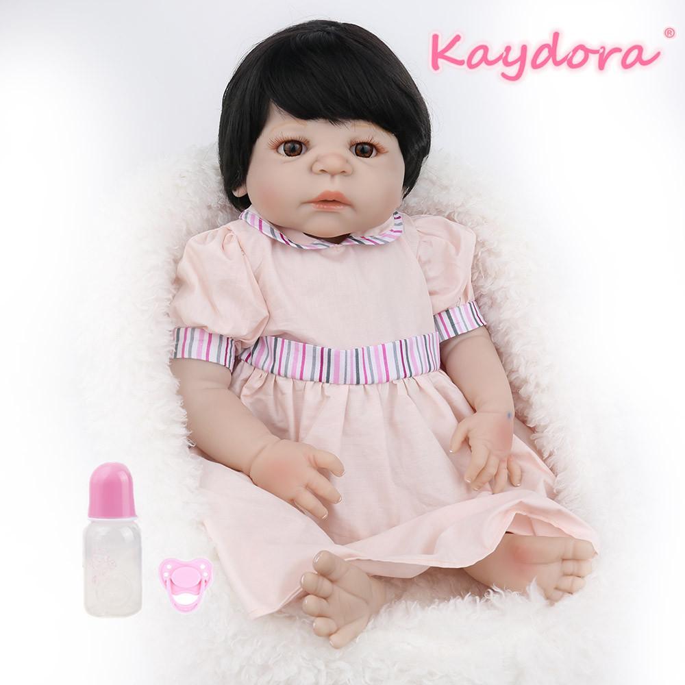 wholesale 22 inch 55cm Reborn Baby Doll Full Vinyl lol Toy surprise Lovely pink Princess Girl Beautiful Bebe pretty dress hot sale