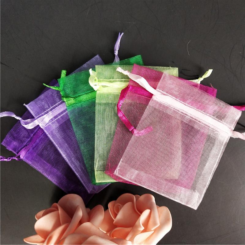 50pcs Organza bag dragees bags Wedding decoration Gift Bags Wedding Supplies solid colors Packaging Pouches gift box 6X8cm 5z