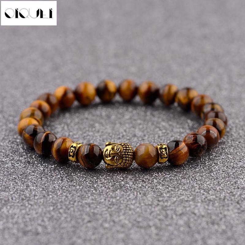 Золотой цвет Будда бисером браслеты для женщин 8 мм тигровый глаз натуральный камень бусины браслеты мужчины Шарм ювелирные изделия аксессуары Подарок