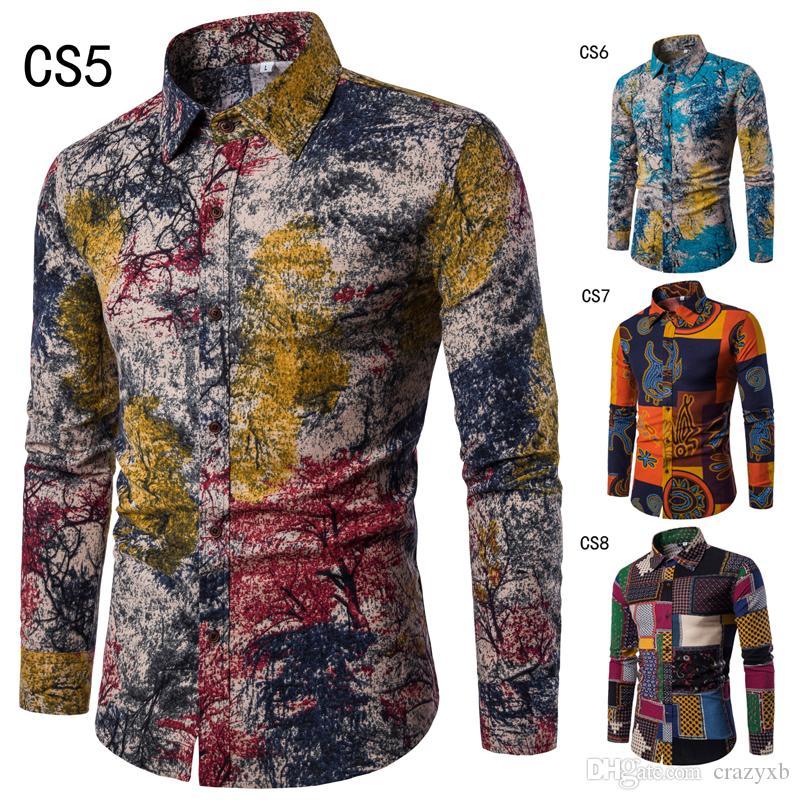 Горячая продажа Мода весна осень Повседневная Мужчины рубашка Slim Fit Цветочный печати льняные рубашки с длинными рукавами рубашки мужчина Цветочные Социальный Masculina M-5XL