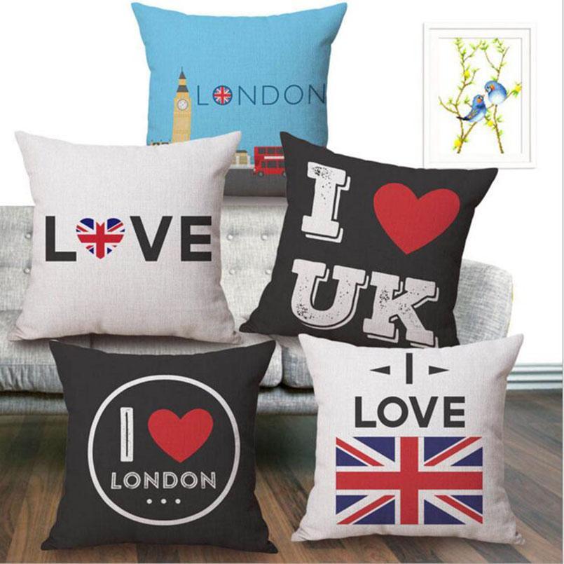 صديقة للبيئة أحب UK القطن الكتان وسادات رمي سادة الأغطية علم المملكة المتحدة مطبوعة وسادة القضية وسادة تغطي 18 * 18 بوصة