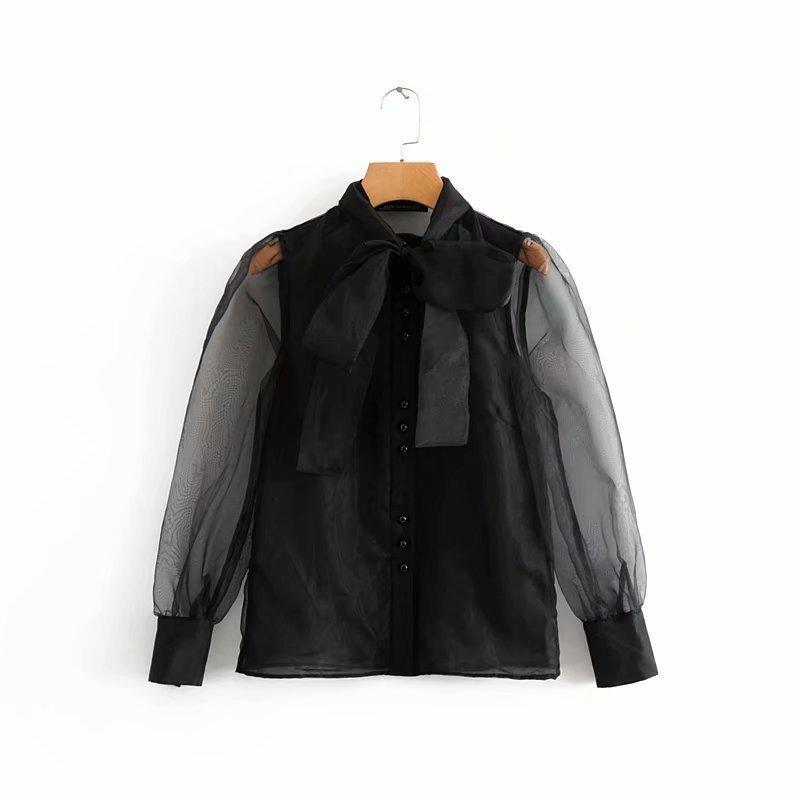 خمر مثير شفافة القوس تعادل طوق عارضة الأسود الأورجانزا بلوزة قميص المرأة الأنثوية blusas شيك القمم Ls2738 Q190521