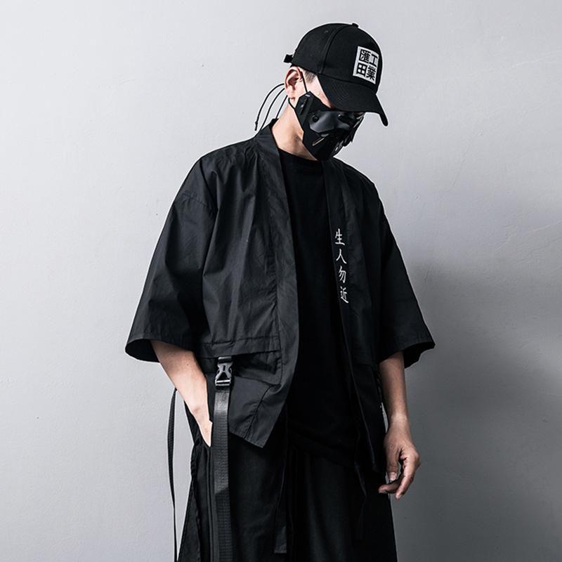 Broderie Style de caractère chinois vestes pour hommes et manteaux d'été kimono japonais mince Harajuku Homme Manteau Hip-Hop Ruban