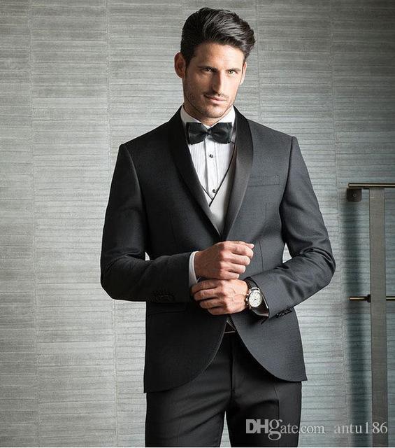 Erkek takım elbise üç parçalı takım elbise (ceket + pantolon + yelek) erkek beyefendi İnce takım elbise düğün damat groomsmen elbise özel