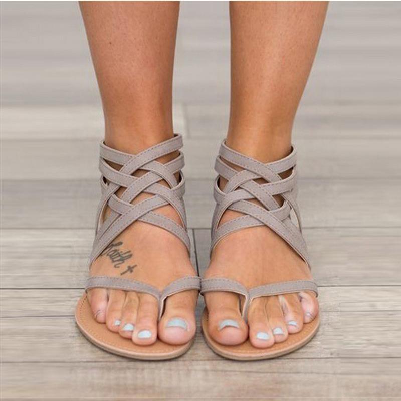 Neue Frauen-Sandalen Fashion Gladiator für Frauen-Sommer-Schuhe Weiblich Flache Sandalen Rom-Art-Kreuz-Sandalen Gebunden 43