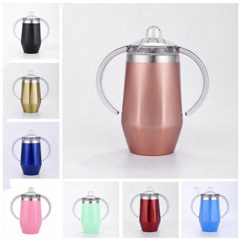Bebê Sippy Cup Forma de Diamante de aço inoxidável Caneca Duplas Crianças Copo Com Handle Wine Beer Glasses 8 cores YSY226
