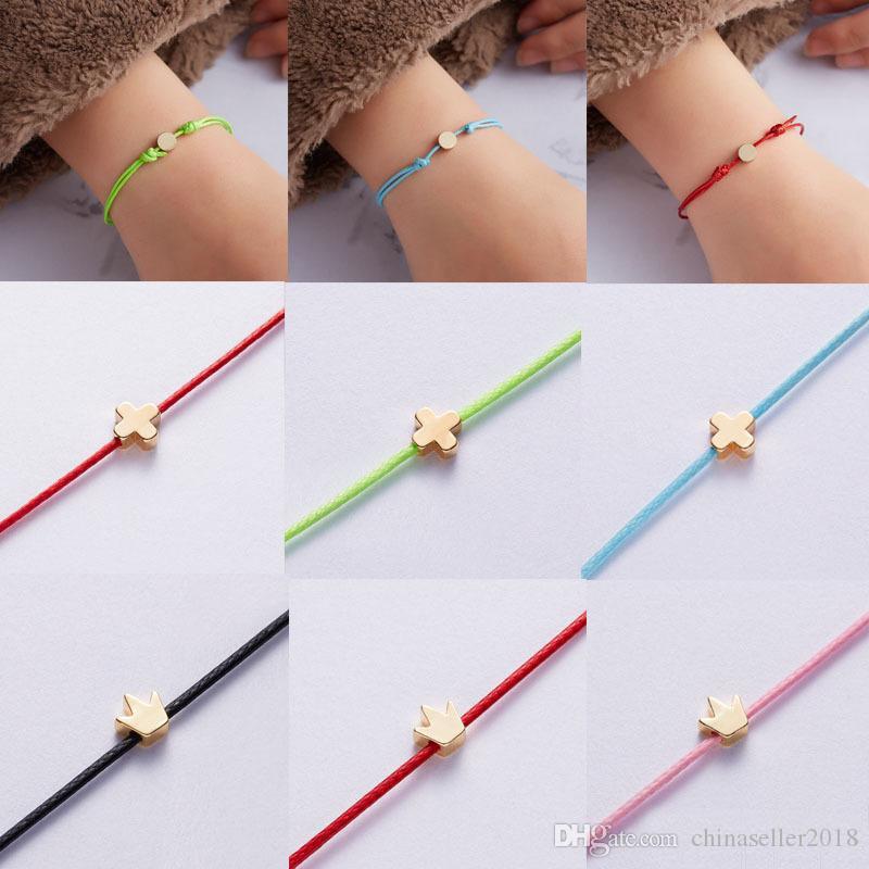 18K позолоченной кожи очаровывает браслет сердца круглого крест короны звезда Корейского ювелирные женщины Rope цепь браслет подарки с розничной картой