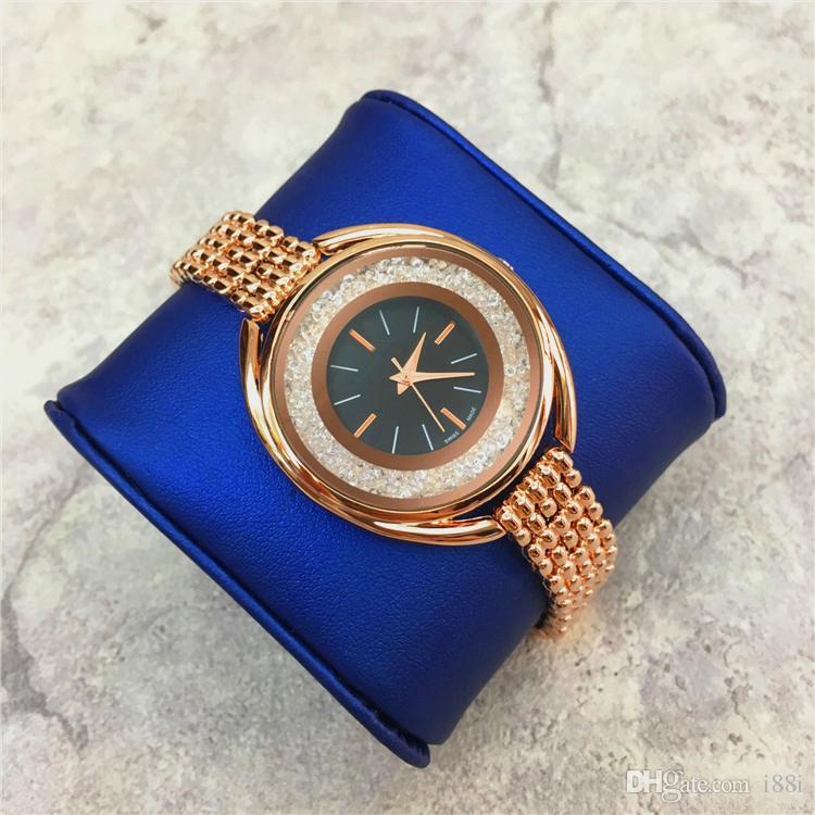 2019 brand New design women quartz clock rolling diamonds Steel Bracelet Chain rose/silver Women watch luxury Dress Watch Japan Movement