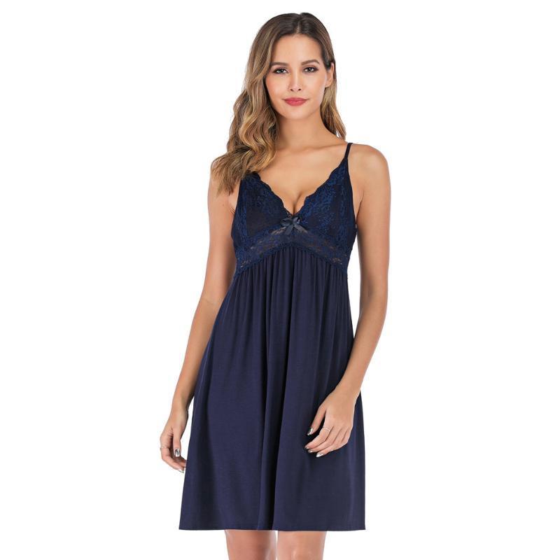 Дамы Sexy Модального хлопка Nightdress рукава ночных рубашки V-образный вырез Nightgown Плюс Размер Nightdress Кружева пижама пижамы для женщин