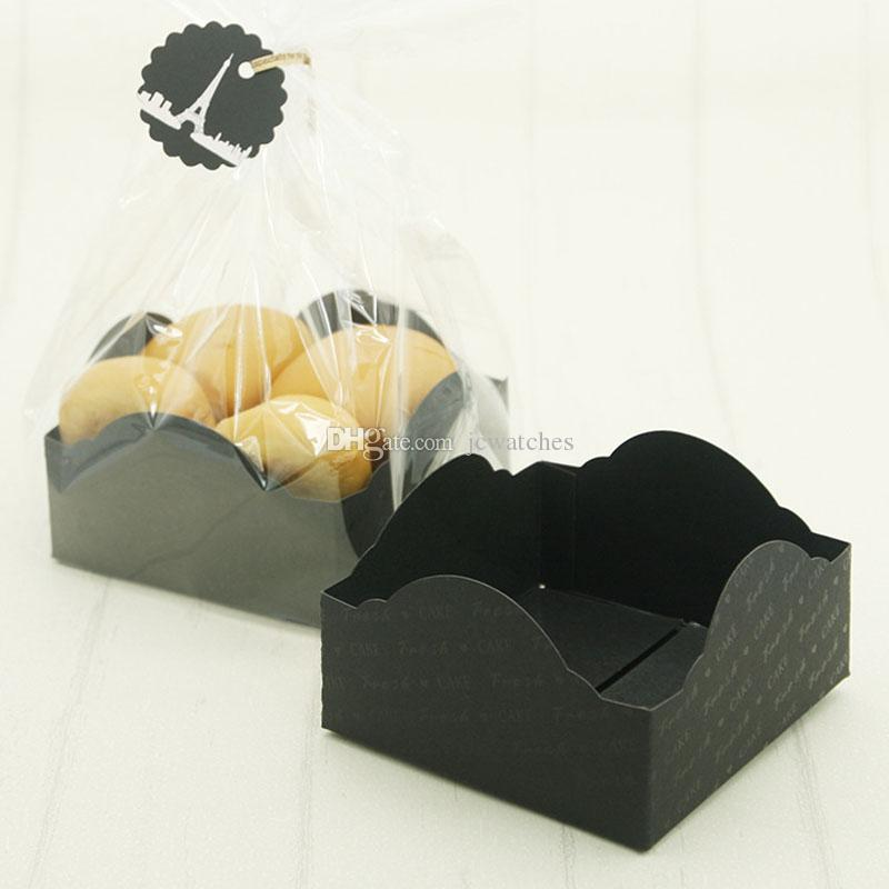 Прозрачная пластиковая упаковка мешки с черным Картонной Bottom Cookie Candy хлеба бумажной коробкой с биркой Ленты для выпечки кондитерских изделий Поставки