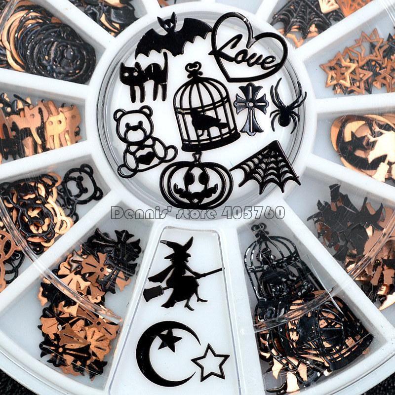 Броня Black Mix Хэллоуин Форма тыква лицо Witch паук Чистой Black Cat Bat Metallic Nail Art Блестка Табличка Gem DIY колесо