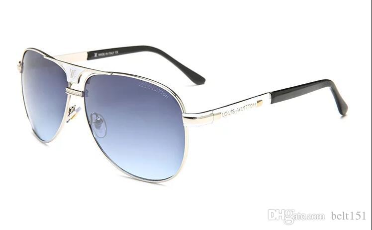 1 adet Yüksek Kalite Klasik Pilot Güneş Gözlüğü Tasarımcı Marka Mens Womens Güneş Gözlükleri Gözlük Altın Metal Izgara Lensler Kahverengi Cas 81211