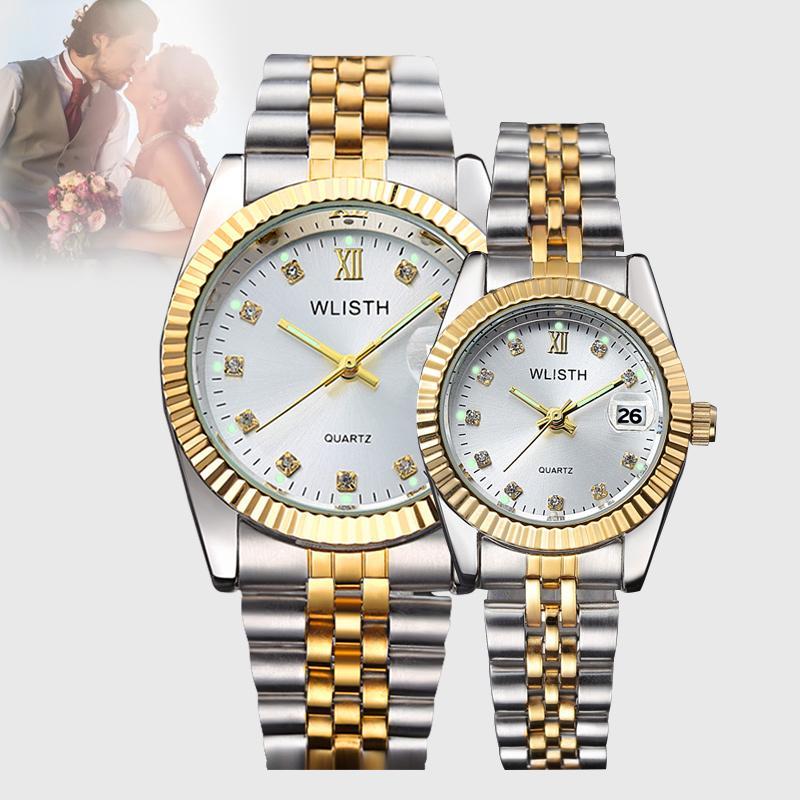 연인의 패션 사업 방수 쿼츠 시계 밤 빛 일정 스틸 벨트 룸 골드 남성과 여성의 무료 시계 상자