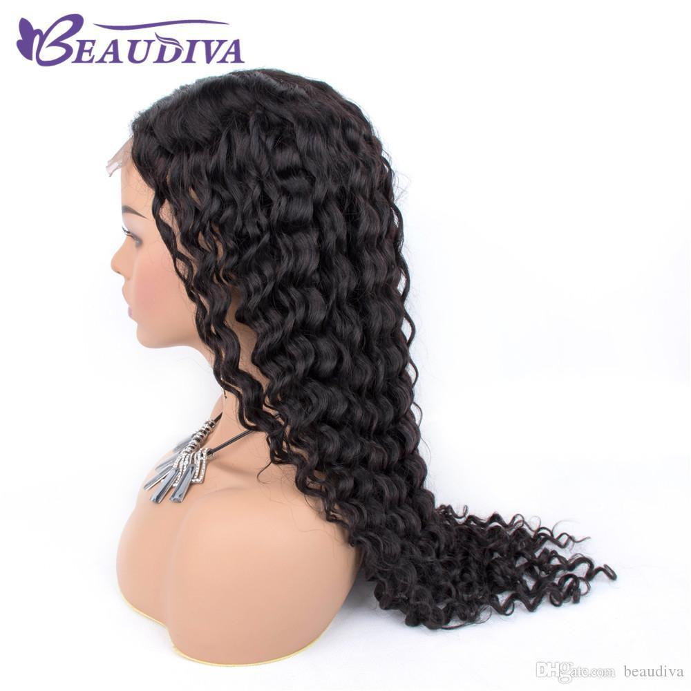 Deep wave 4 * 4 Lace Closure Wiggs Middle Part Human Hair Wigs Pre Plucked Hairline With Baby Hair Pervian Deep Wave Wave Wave Wag