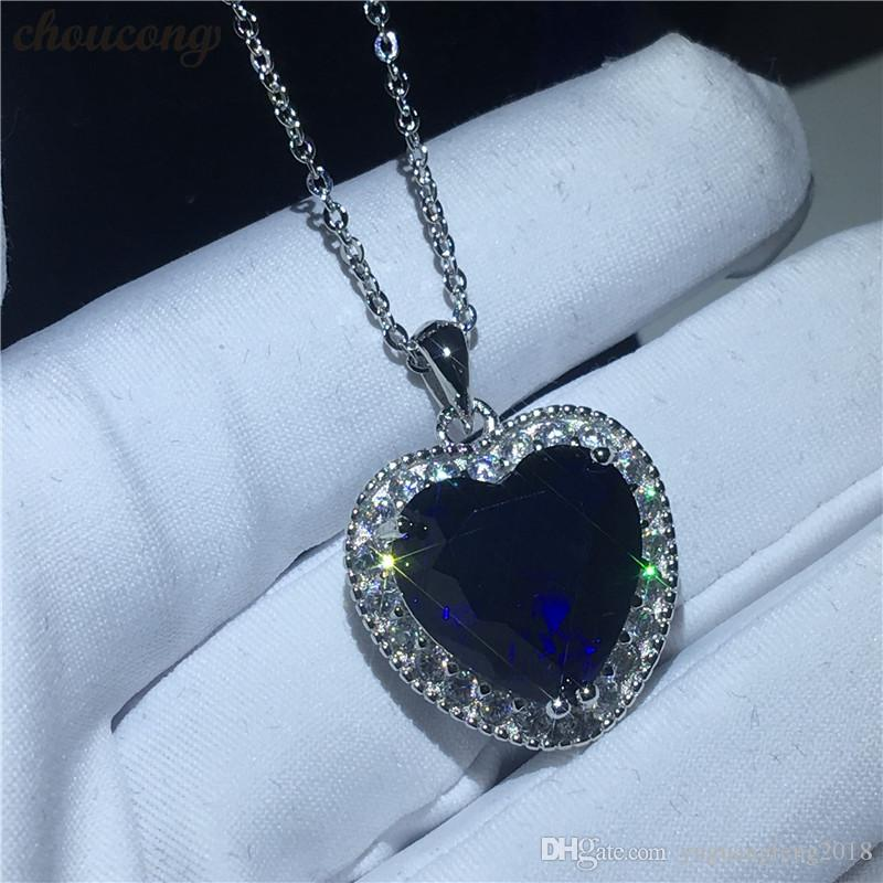 Oceanheart shape Kate Winslet Necklace for women Bridal 5A Zircon Cz Real 925 Sterling silver Pendant with Necklace