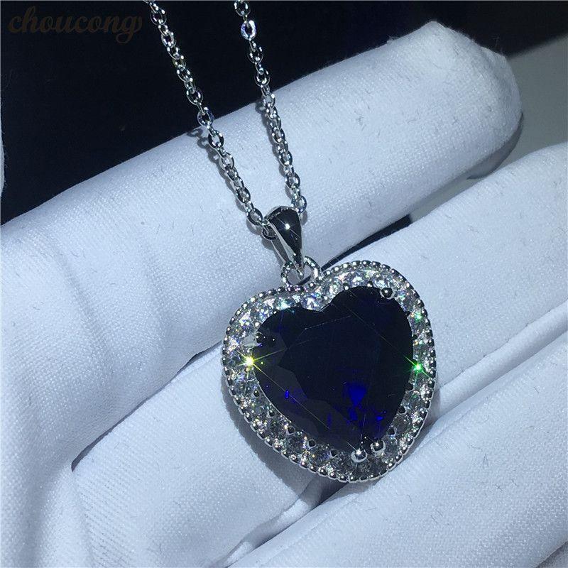 Oceanheart Form Kate Winslet Halskette für Frauen Braut 5A Zirkon Cz Real 925 Sterling Silber Anhänger mit Halskette