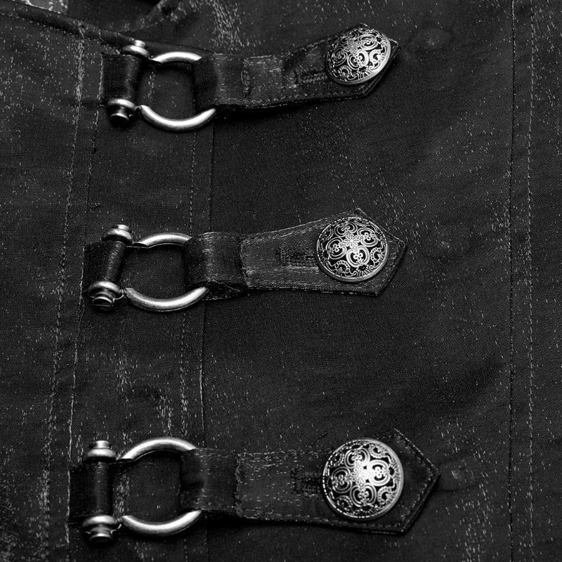 Punk Rave Men Fashion Warm Cardigan Fit Gothic Gorgeous Metal Zipper Mid-Long Coat Asymmetrical Flaps Party Dinner Jacket