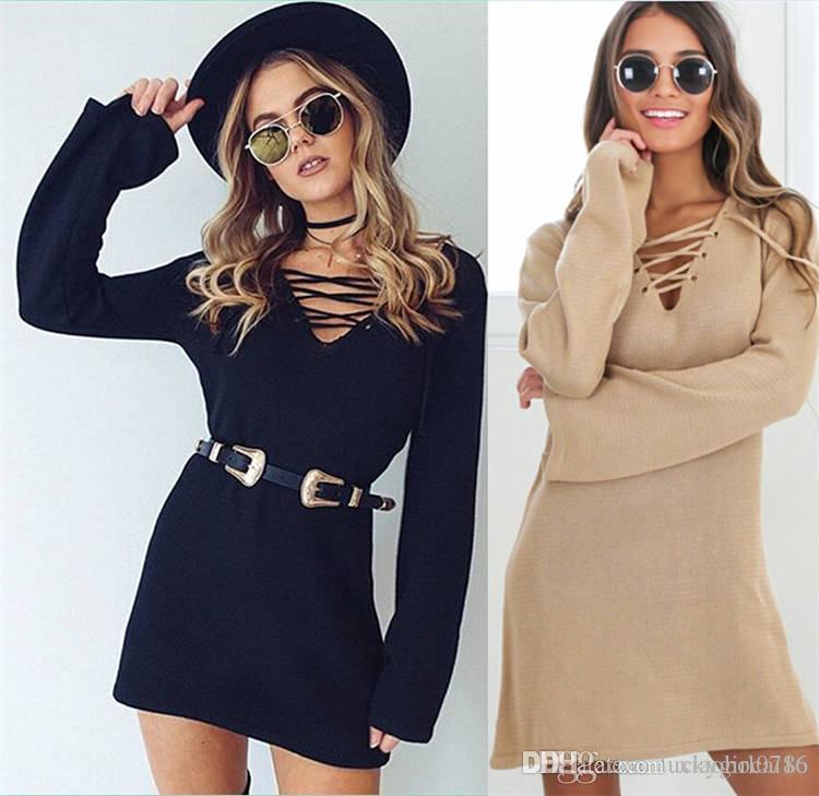 Europa e nos estados unidos moda feminina nova camisola de inverno saia do vestido cintas cruzadas de apoio frete grátis